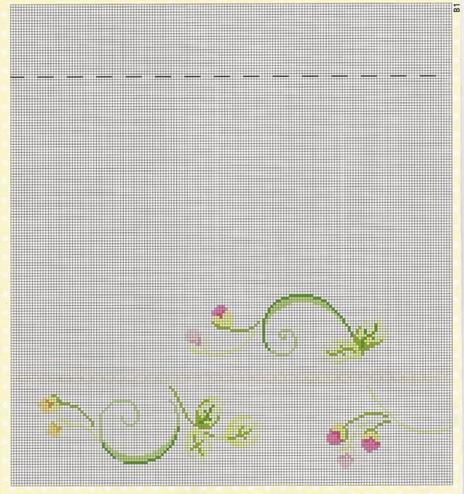 Цветочная вышивка для скатерти или покрывала. Схема (2) (656x700, 490Kb)