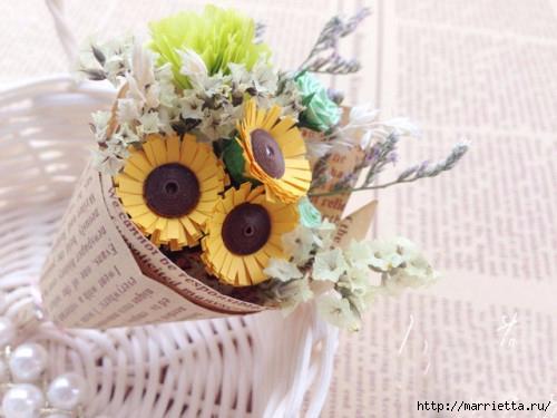 Миниатюрные букетики цветов из бумаги (1) (500x375, 111Kb)