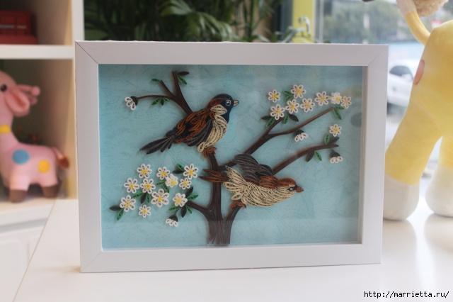 Панно с цветущим деревом и птицами в технике квиллинг (4) (640x426, 150Kb)