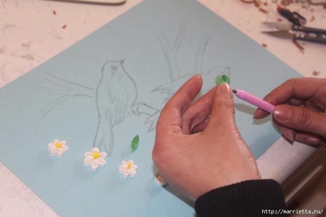 Панно с цветущим деревом и птицами в технике квиллинг (6) (640x426, 135Kb)