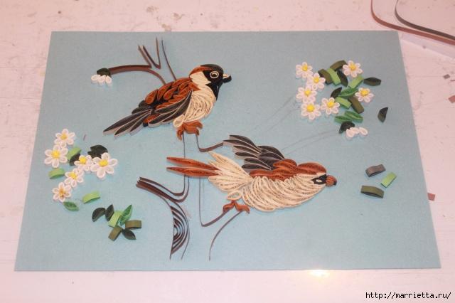 Панно с цветущим деревом и птицами в технике квиллинг (10) (640x426, 171Kb)