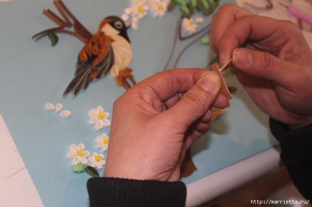 Панно с цветущим деревом и птицами в технике квиллинг (12) (640x426, 141Kb)