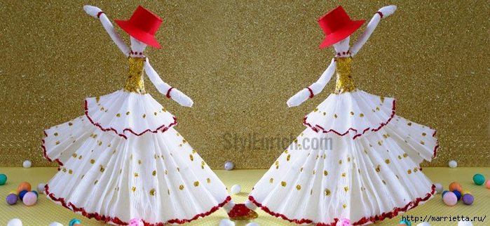 Куколки-танцовщицы из салфеток. Видео мк (3) (700x322, 234Kb)