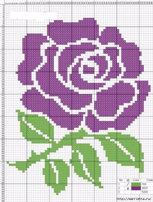 Вышиваем розы на скатерти и салфетках. Схемы (15) (528x700, 393Kb)