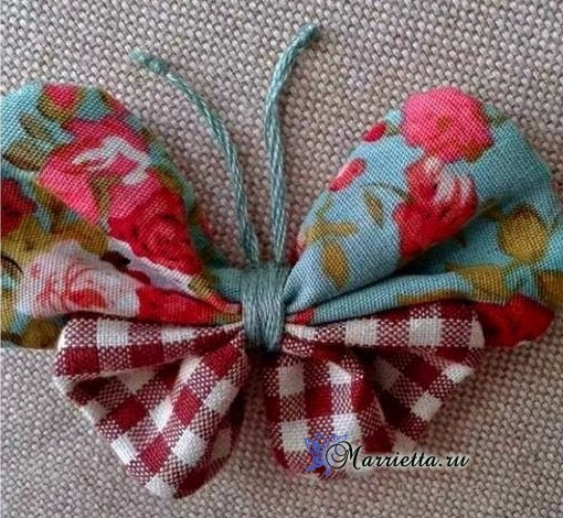 Бабочка из ткани для украшения детской одежды (1) (510x470, 319Kb)