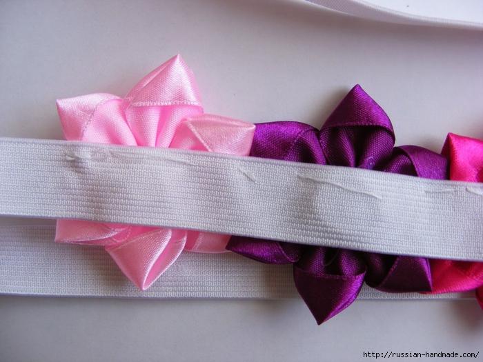 Ободок для волос с цветами из атласных лент. Мастер-класс (23) (700x525, 263Kb)