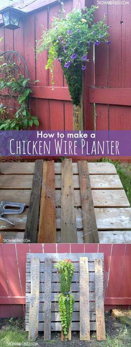 12-Creative-DIY-Pallet-Planter-Ideas-for-Spring-Vertical-Chicken-Wire-Planter-on-Pallet-Wood (264x700, 250Kb)