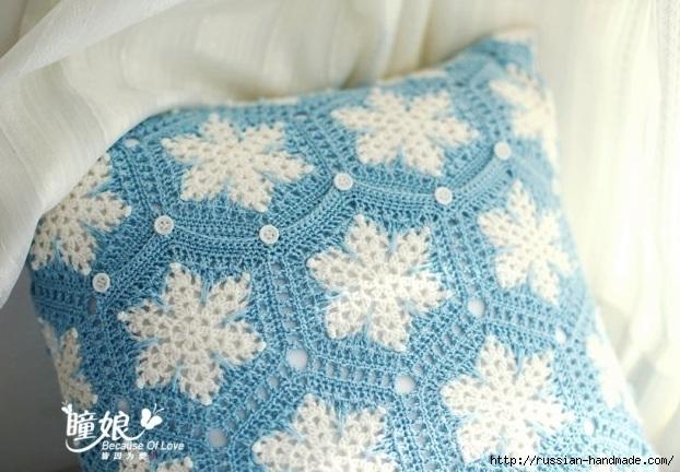 Вяжем крючком подушку со снежинками (2) (622x432, 188Kb)