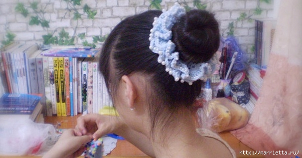 Для волос крючком. Ажурная резиночка (4) (606x317, 125Kb)