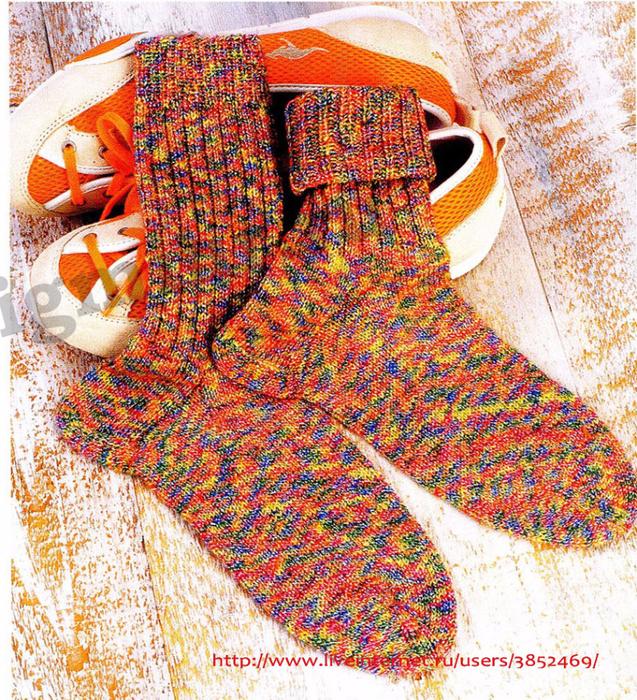 классические носки из меланжевой пряжи описание (637x700, 905Kb)