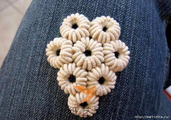 Шнурковое румынское кружево. Объемные цветочки (18) (593x416, 151Kb)