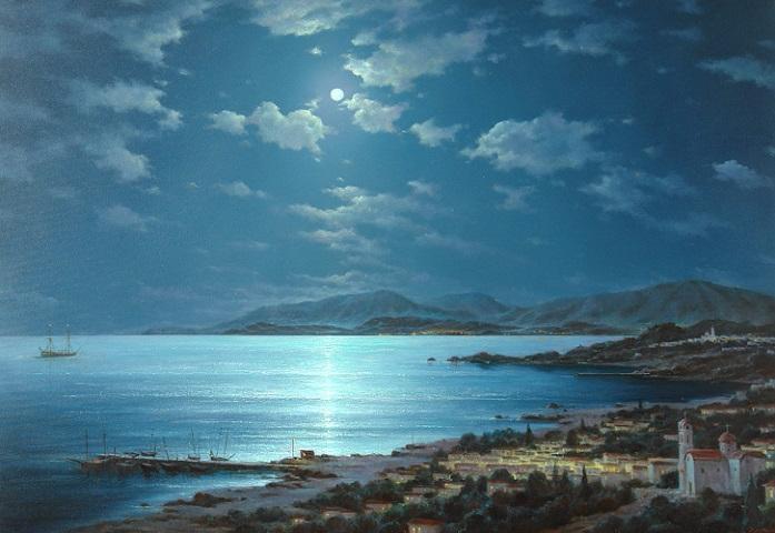 Лунная ночь над Критом (697x480, 319Kb)