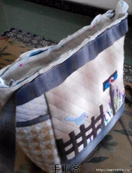Лоскутная сумочка с птичкой и лавандой. Шьем сами (14) (462x606, 155Kb)