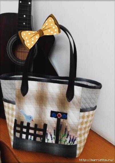 Лоскутная сумочка с птичкой и лавандой. Шьем сами (18) (404x575, 104Kb)
