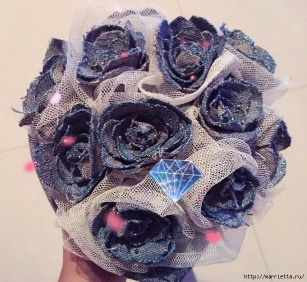 Букет цветов из джинсовой ткани (16) (614x563, 270Kb)