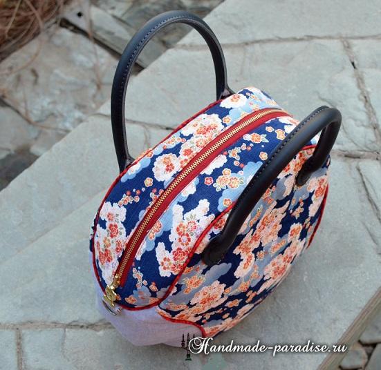 Круглая сумочка с кожаными ручками. Шьем сами (24) (551x536, 317Kb)