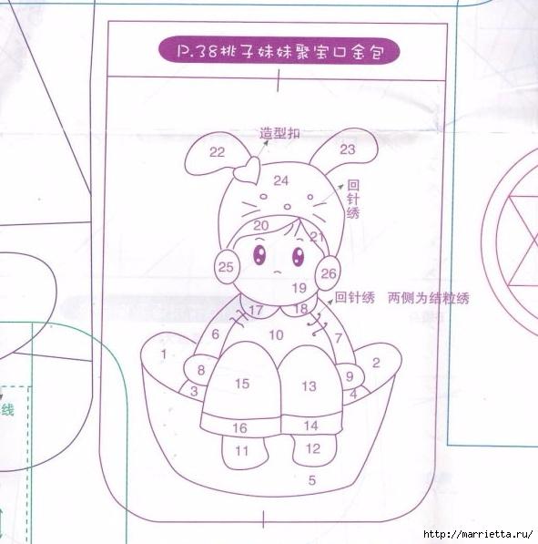 Аппликация на детских кошельках и сумочках. Шаблоны (17) (591x597, 171Kb)