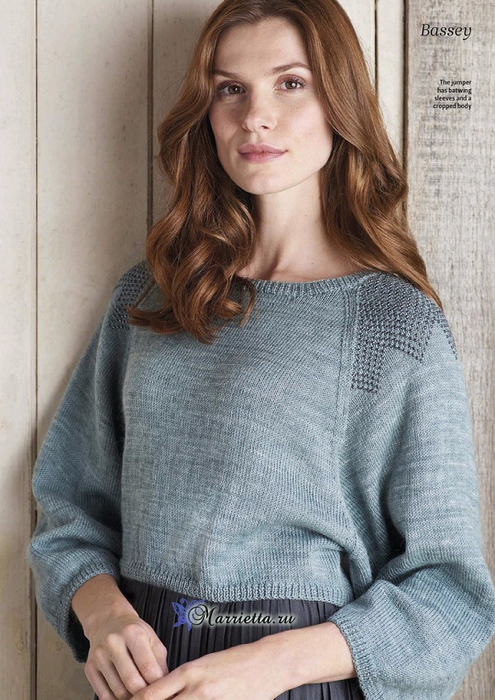 Пуловер спицами с декоративной отделкой бисером (4) (495x700, 379Kb)