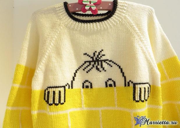 Прикольный детский пуловер спицами (2) (619x439, 302Kb)