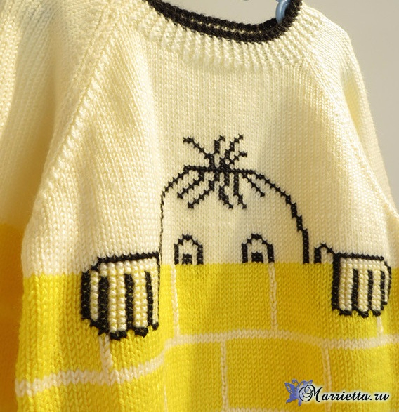 Прикольный детский пуловер спицами (4) (568x587, 395Kb)