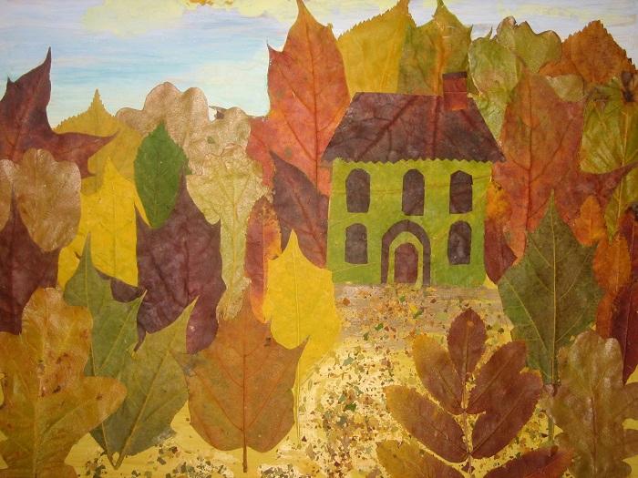 Поделки из засушенных листьев