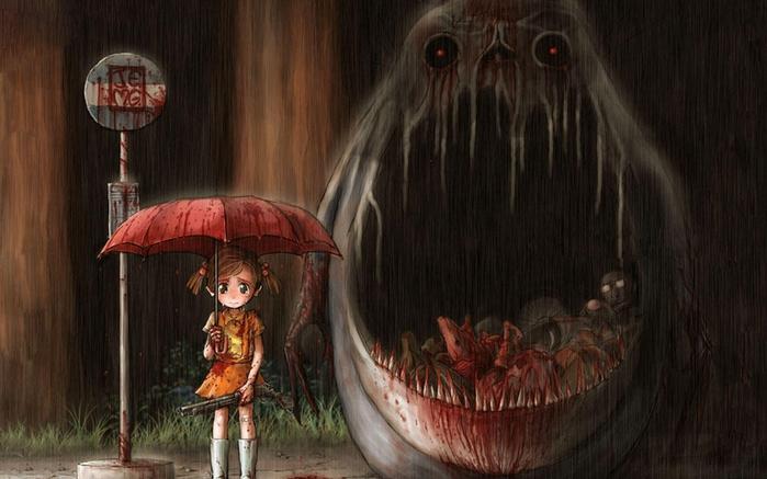 Ужасы в аниме! 10 самых страшных монстров из аниме (видео)