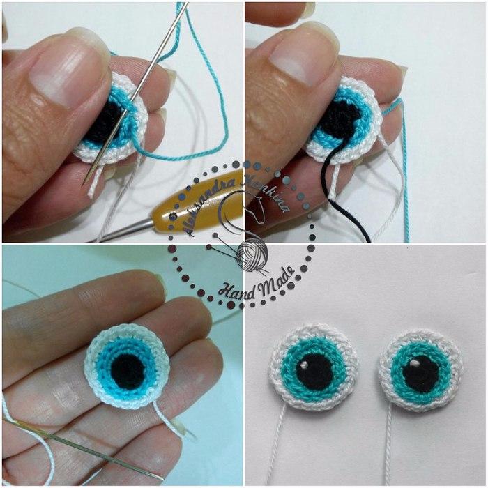 Как сделать глаза вязаным куклами 295