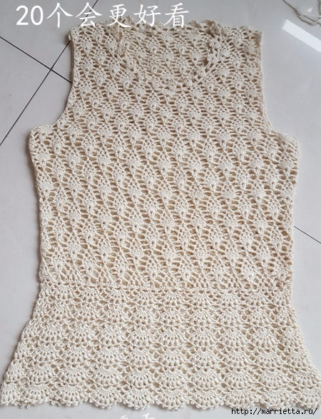 Белая ажурная кофточка крючком. Схемы (11) (450x587, 277Kb)