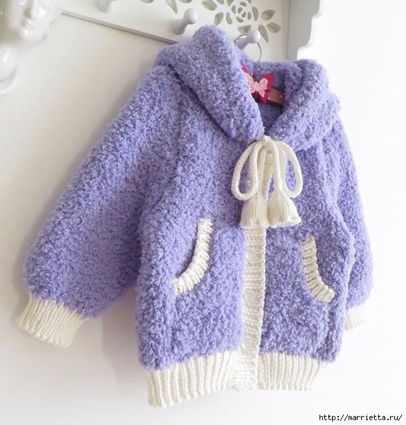 Вязание детской курточки с капюшоном с ушками кролика (11) (587x615, 227Kb)