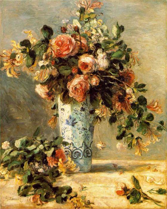 Les roses et jasmin dans le vase de Delft (560x700, 567Kb)