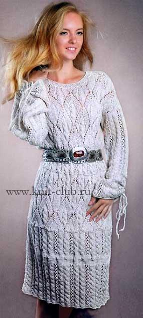 Женские платья спицами с вертикальным с описанием