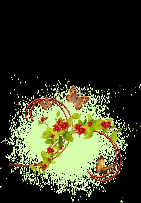 бабочки в саду (487x700, 214Kb)