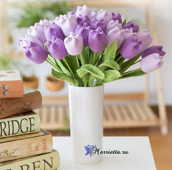 Вяжем крючком цветы - ТЮЛЬПАНЫ (2) (583x576, 256Kb)