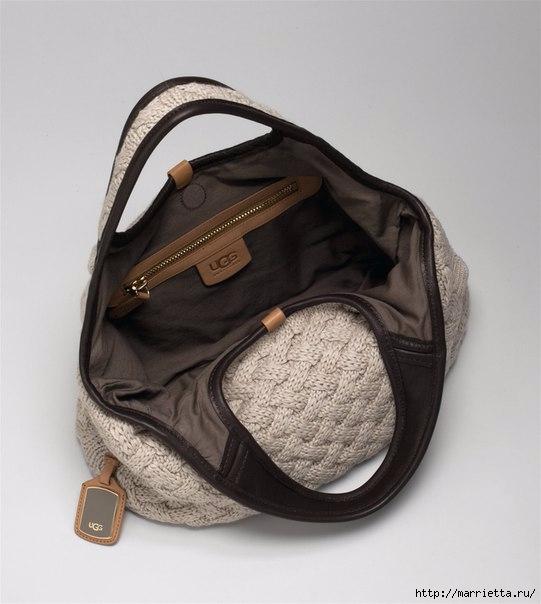 Стильная вязаная спицами сумка-плетенка. Описание (12) (541x604, 126Kb)