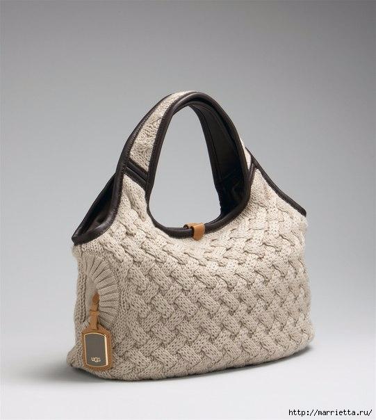 Стильная вязаная спицами сумка-плетенка. Описание (14) (541x604, 132Kb)