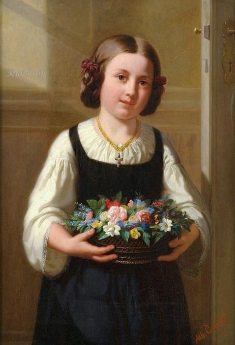 Albert Conrad (German artist, 1837-1887) Flower Girl (678x900, 70Kb)