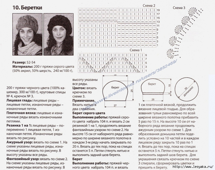 Схема вязания тонкого берета