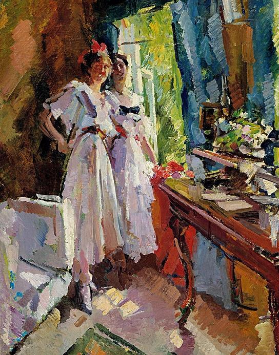 У открытого окна. Портрет дочерей Ф.И. Шаляпина. 1916 (544x693, 702Kb)