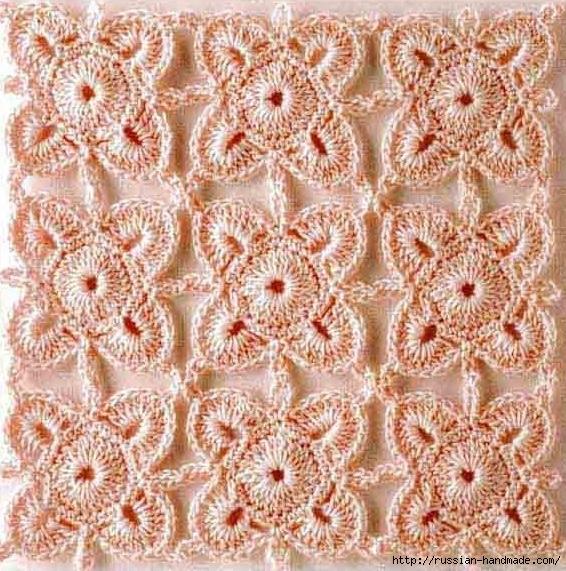 Декор длинного пуловера ажурным мотивом крючком (1) (566x571, 327Kb)