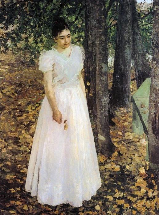 Осенью (Девушка в саду). 1891 (516x695, 205Kb)