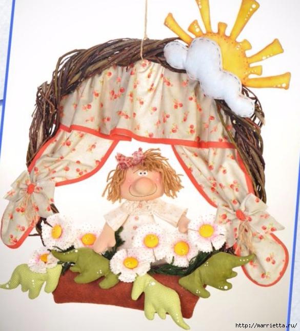 Цветы в окошке. Детский венок из веток с текстильной куклой и цветами (8) (585x644, 225Kb)