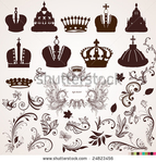 Превью stock-vector-set-of-crowns-and-vintage-ornaments-for-design-24823456 (450x470, 187Kb)