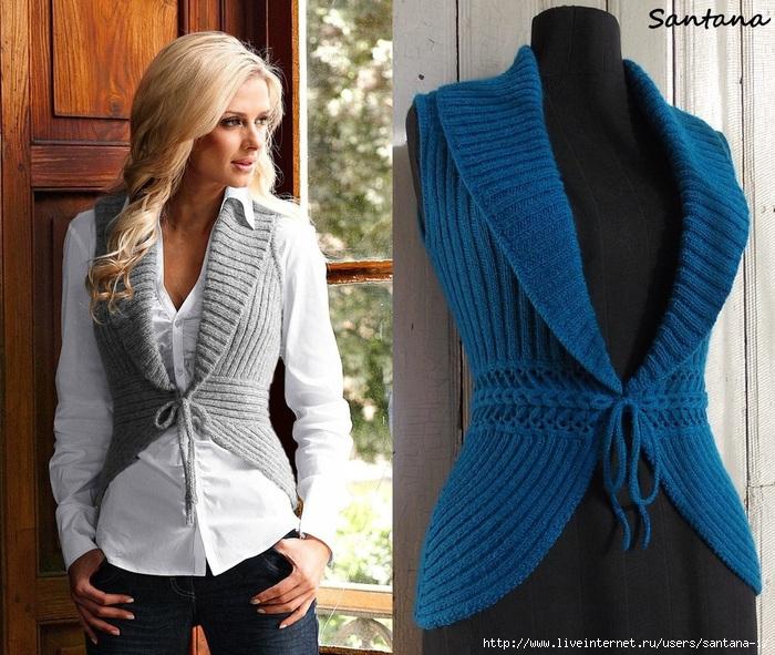 Модное вязание спицами жилетки для 376