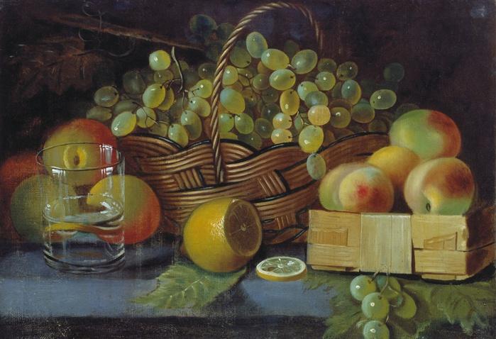 Натюрморт с яблоками, виноградом и лимоном (700x478, 135Kb)