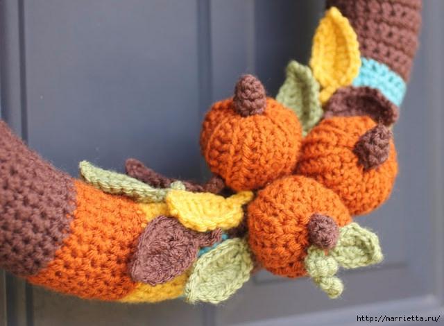 Осенний венок из пряжи с тыковками. Вязание крючком (9) (640x470, 153Kb)