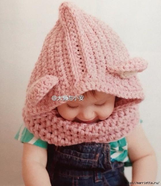 Детский шлем-шапочка с ушками. Вязание крючком (3) (559x645, 195Kb)