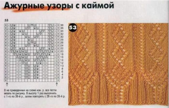 Вязание спицами кайма из кос 61