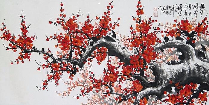 Китайская роспись деревья