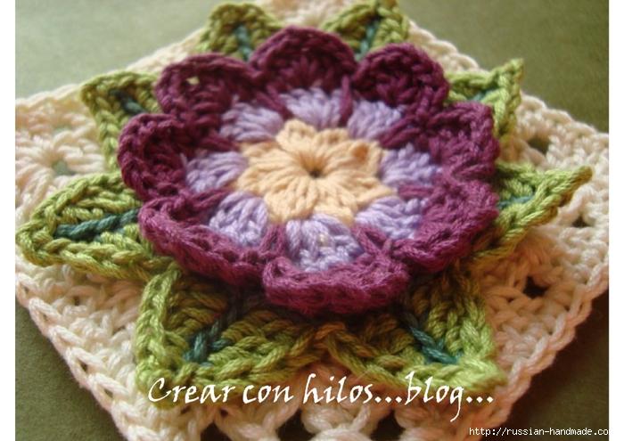 Бабушкин квадрат с цветком. Очень красивый мотив крючком (1) (700x495, 257Kb)