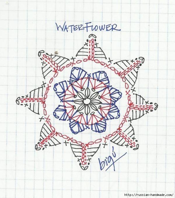 Бабушкин квадрат с цветком. Очень красивый мотив крючком (4) (600x678, 199Kb)